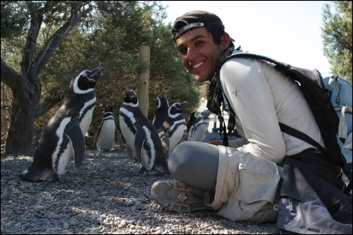 turista con pinguinos